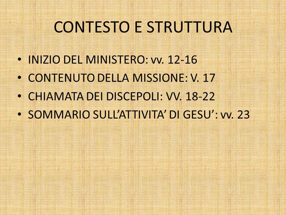 CONTESTO E STRUTTURA INIZIO DEL MINISTERO: vv.12-16 CONTENUTO DELLA MISSIONE: V.