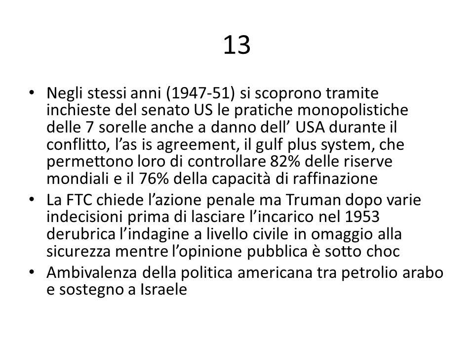 13 Negli stessi anni (1947-51) si scoprono tramite inchieste del senato US le pratiche monopolistiche delle 7 sorelle anche a danno dell' USA durante il conflitto, l'as is agreement, il gulf plus system, che permettono loro di controllare 82% delle riserve mondiali e il 76% della capacità di raffinazione La FTC chiede l'azione penale ma Truman dopo varie indecisioni prima di lasciare l'incarico nel 1953 derubrica l'indagine a livello civile in omaggio alla sicurezza mentre l'opinione pubblica è sotto choc Ambivalenza della politica americana tra petrolio arabo e sostegno a Israele