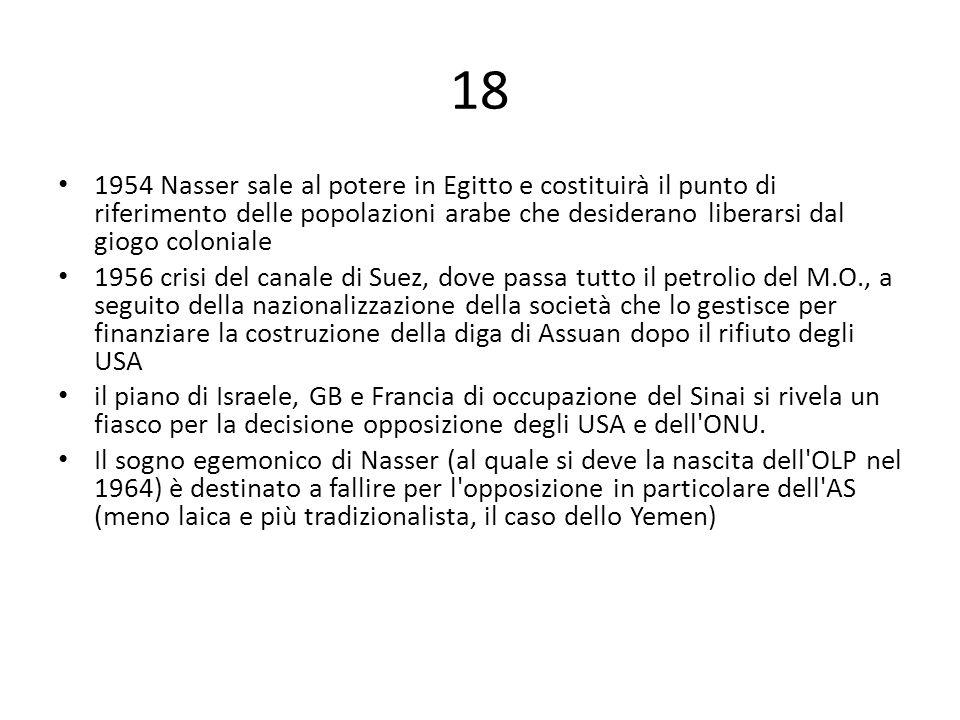 18 1954 Nasser sale al potere in Egitto e costituirà il punto di riferimento delle popolazioni arabe che desiderano liberarsi dal giogo coloniale 1956