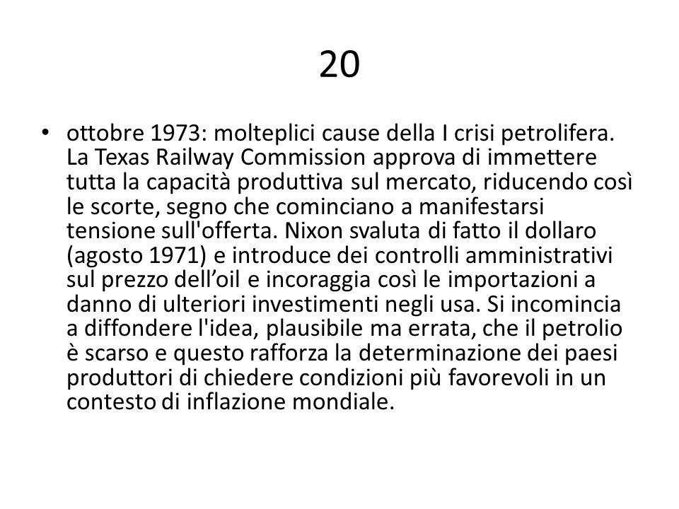 20 ottobre 1973: molteplici cause della I crisi petrolifera. La Texas Railway Commission approva di immettere tutta la capacità produttiva sul mercato