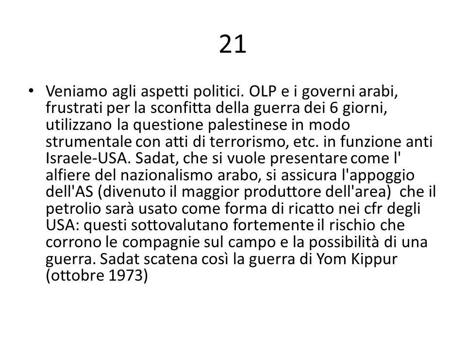 21 Veniamo agli aspetti politici.