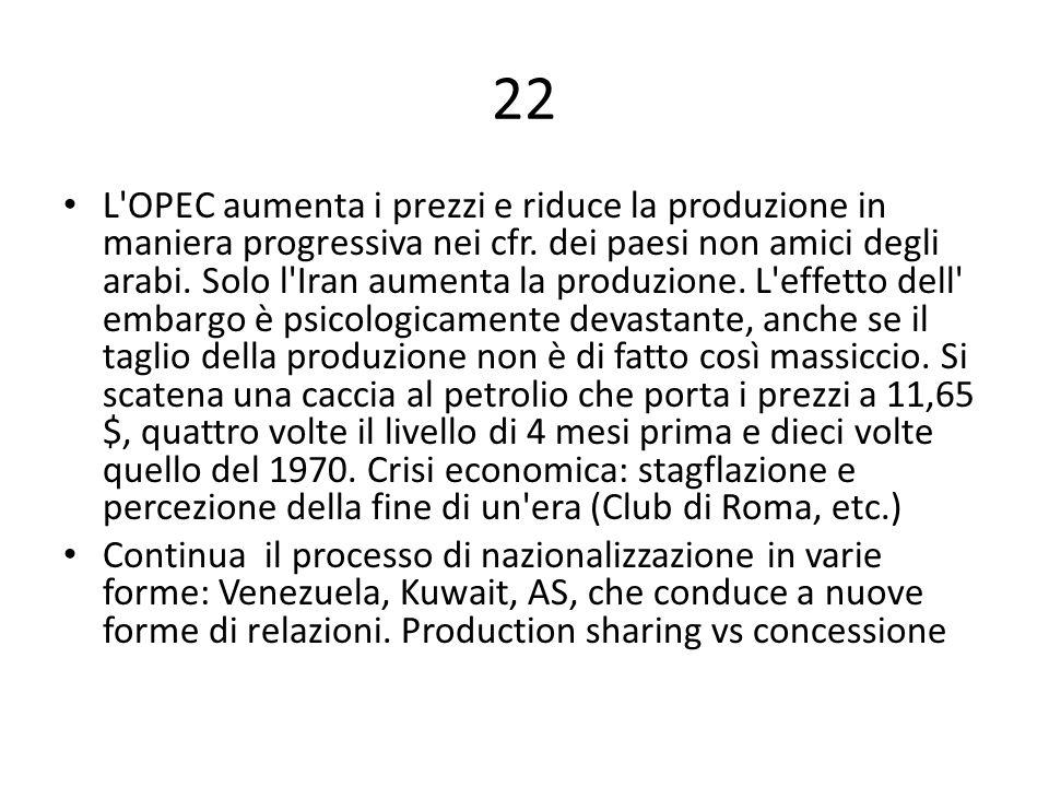 22 L'OPEC aumenta i prezzi e riduce la produzione in maniera progressiva nei cfr. dei paesi non amici degli arabi. Solo l'Iran aumenta la produzione.