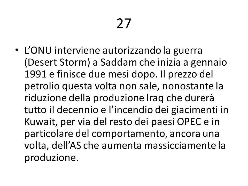 27 L'ONU interviene autorizzando la guerra (Desert Storm) a Saddam che inizia a gennaio 1991 e finisce due mesi dopo. Il prezzo del petrolio questa vo