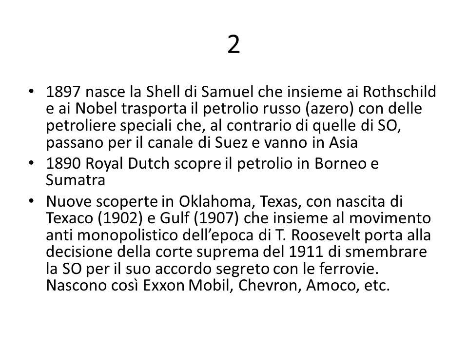 2 1897 nasce la Shell di Samuel che insieme ai Rothschild e ai Nobel trasporta il petrolio russo (azero) con delle petroliere speciali che, al contrar