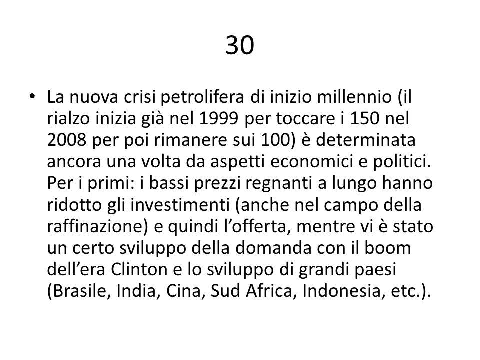 30 La nuova crisi petrolifera di inizio millennio (il rialzo inizia già nel 1999 per toccare i 150 nel 2008 per poi rimanere sui 100) è determinata ancora una volta da aspetti economici e politici.