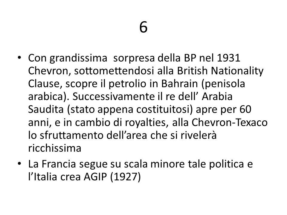 6 Con grandissima sorpresa della BP nel 1931 Chevron, sottomettendosi alla British Nationality Clause, scopre il petrolio in Bahrain (penisola arabica).