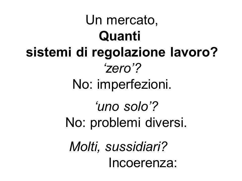 Un mercato, Quanti sistemi di regolazione lavoro. 'zero'.
