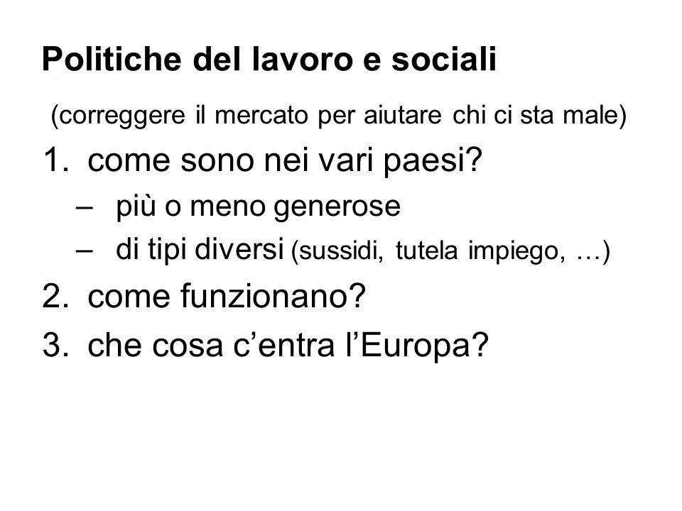 Politiche del lavoro e sociali (correggere il mercato per aiutare chi ci sta male) 1.come sono nei vari paesi.