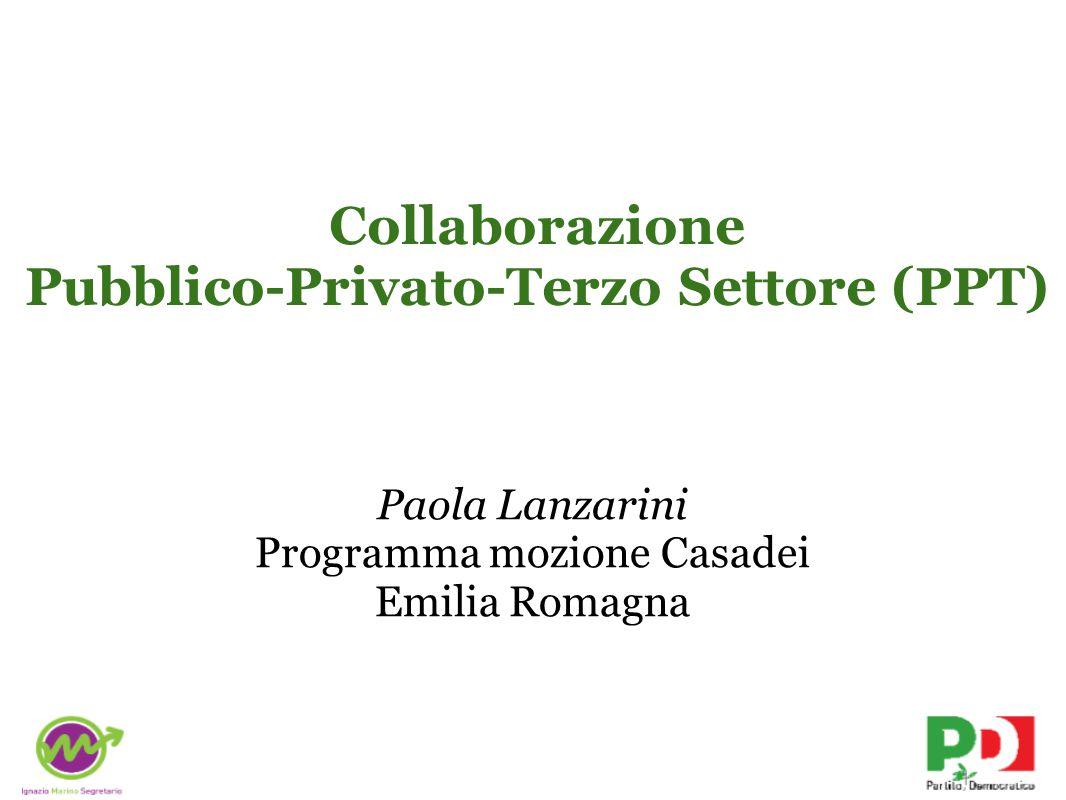 Collaborazione Pubblico-Privato-Terzo Settore (PPT) Paola Lanzarini Programma mozione Casadei Emilia Romagna