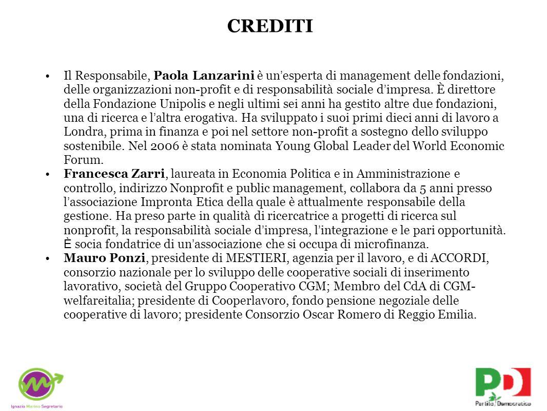 CREDITI Il Responsabile, Paola Lanzarini è un ' esperta di management delle fondazioni, delle organizzazioni non-profit e di responsabilità sociale d