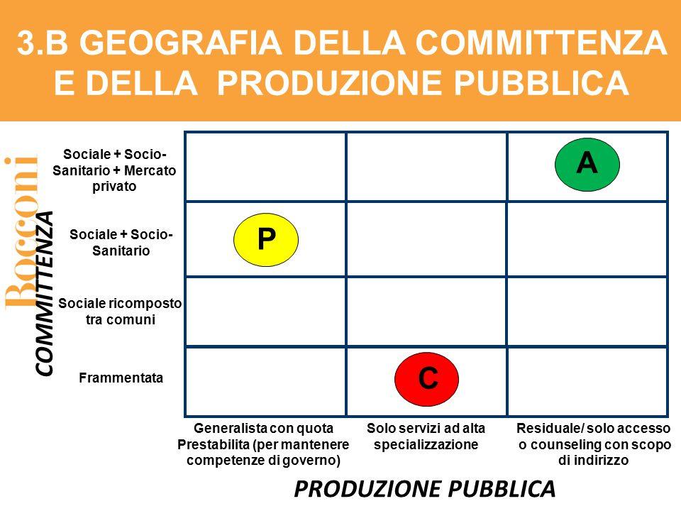 PRODUZIONE PUBBLICA Sociale + Socio- Sanitario + Mercato privato 3.B GEOGRAFIA DELLA COMMITTENZA E DELLA PRODUZIONE PUBBLICA COMMITTENZA Sociale + Soc