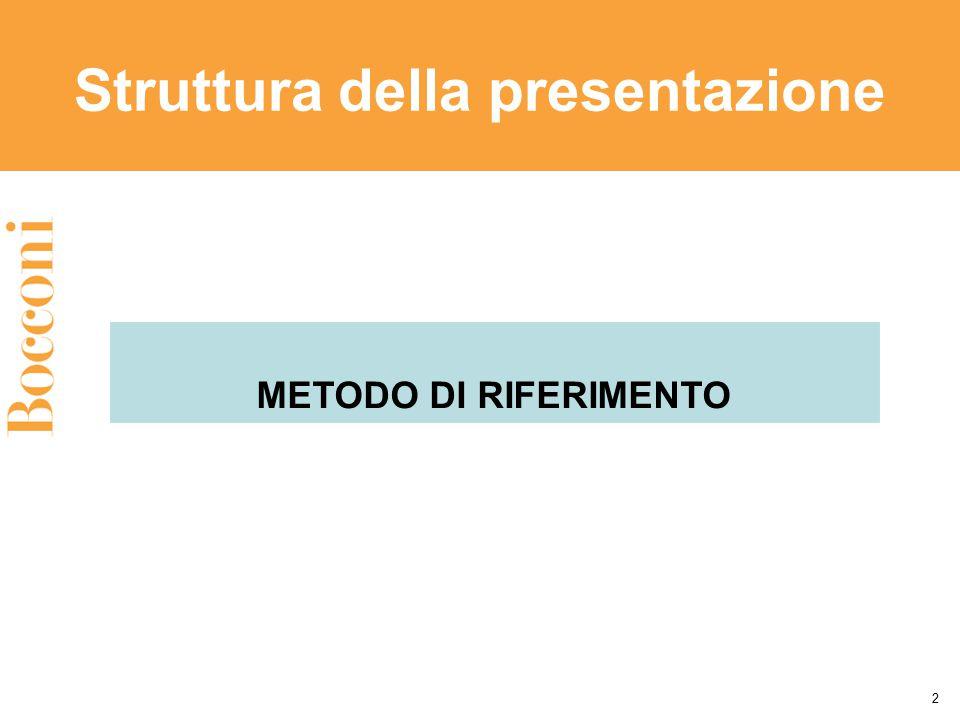 Struttura della presentazione 2 METODO DI RIFERIMENTO