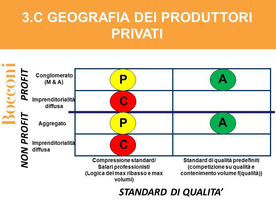 STANDARD DI QUALITA' PROFIT Conglomerato (M & A) 3.C GEOGRAFIA DEI PRODUTTORI PRIVATI NON PROFIT Imprenditorialità diffusa Aggregato Imprenditorialità
