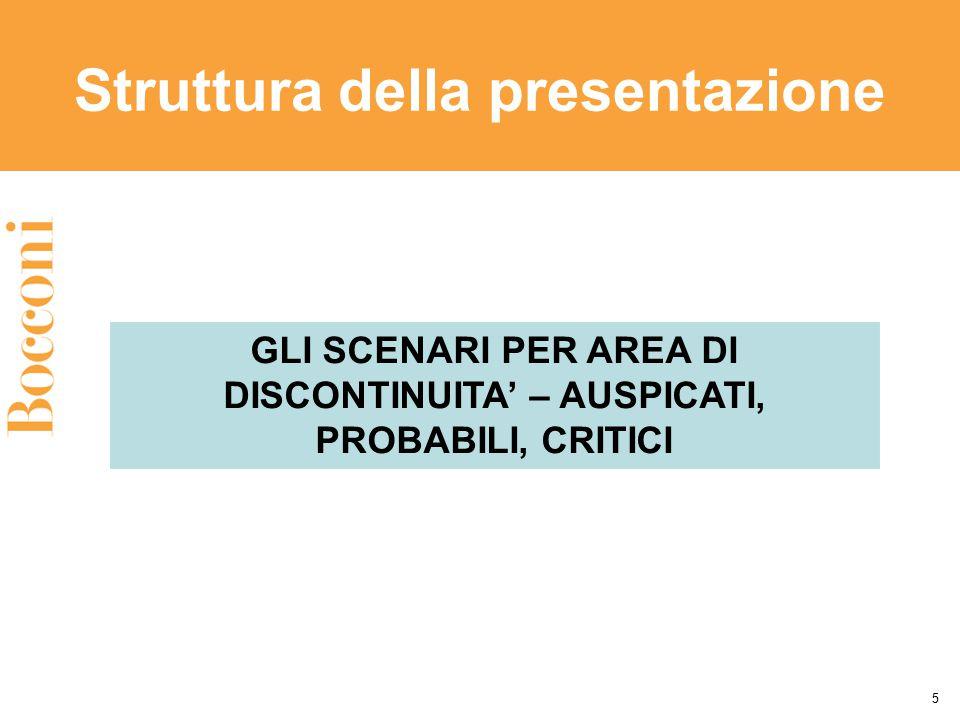 Struttura della presentazione 5 GLI SCENARI PER AREA DI DISCONTINUITA' – AUSPICATI, PROBABILI, CRITICI