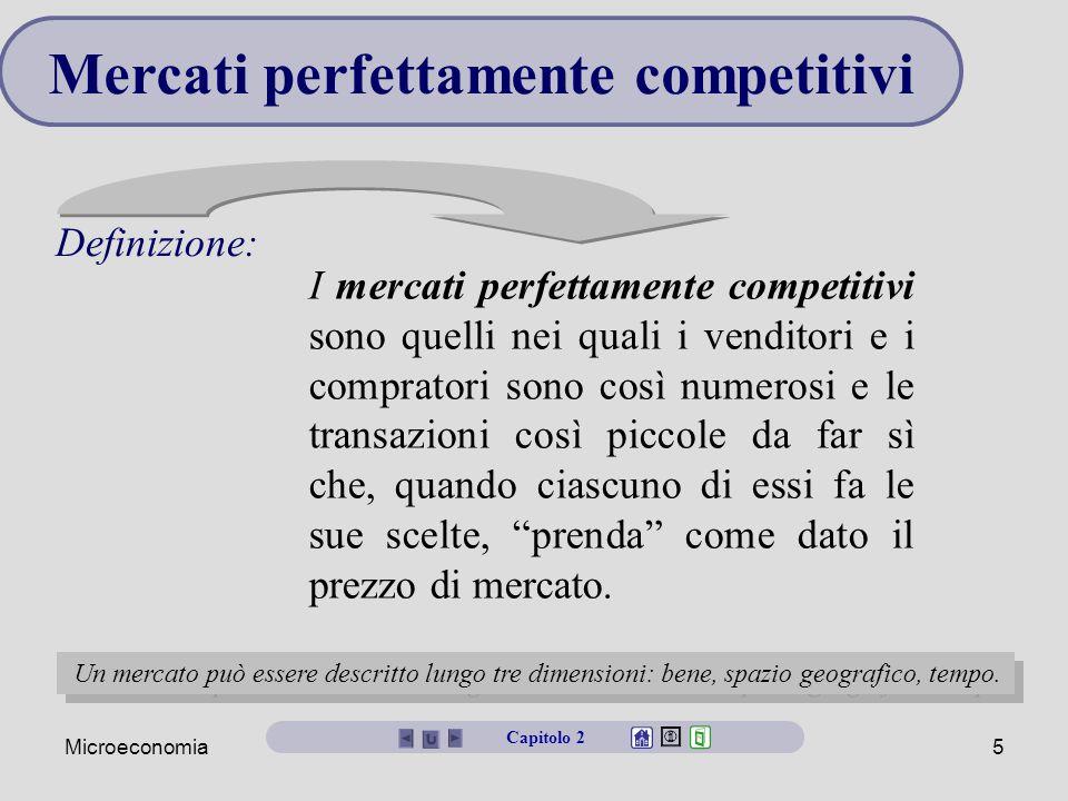 Microeconomia5 Definizione: Mercati perfettamente competitivi I mercati perfettamente competitivi sono quelli nei quali i venditori e i compratori son