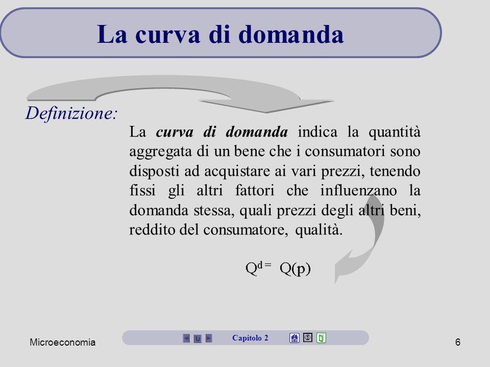 Microeconomia6 La curva di domanda La curva di domanda indica la quantità aggregata di un bene che i consumatori sono disposti ad acquistare ai vari p