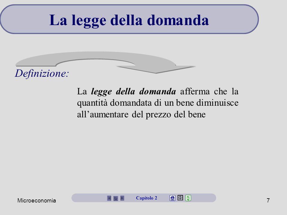 Microeconomia7 La legge della domanda Definizione: Capitolo 2 La legge della domanda afferma che la quantità domandata di un bene diminuisce all'aumen