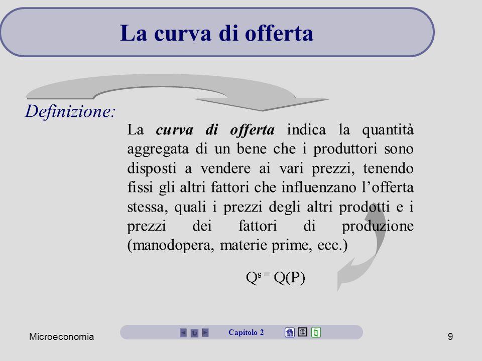 Microeconomia9 La curva di offerta Capitolo 2 La curva di offerta indica la quantità aggregata di un bene che i produttori sono disposti a vendere ai