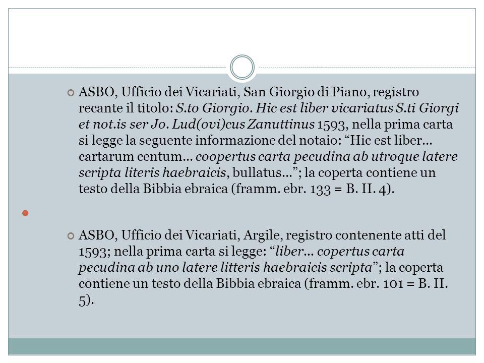 ASBO, Ufficio dei Vicariati, San Giorgio di Piano, registro recante il titolo: S.to Giorgio. Hic est liber vicariatus S.ti Giorgi et not.is ser Jo. Lu