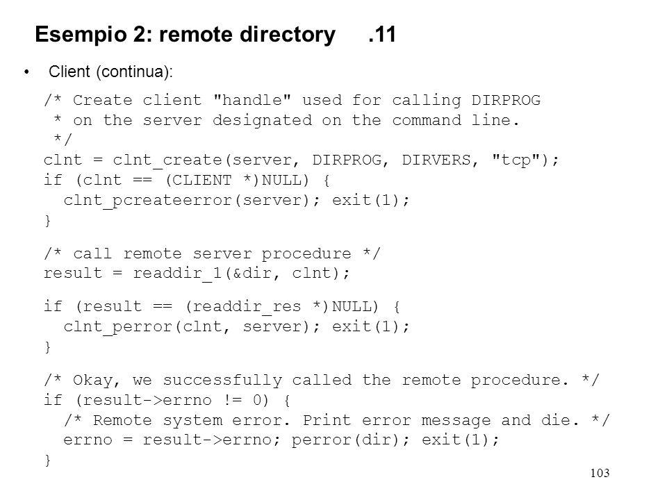 103 Client (continua): /* Create client