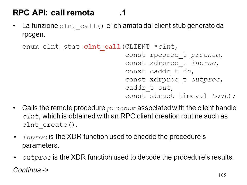 105 La funzione clnt_call() e chiamata dal client stub generato da rpcgen.