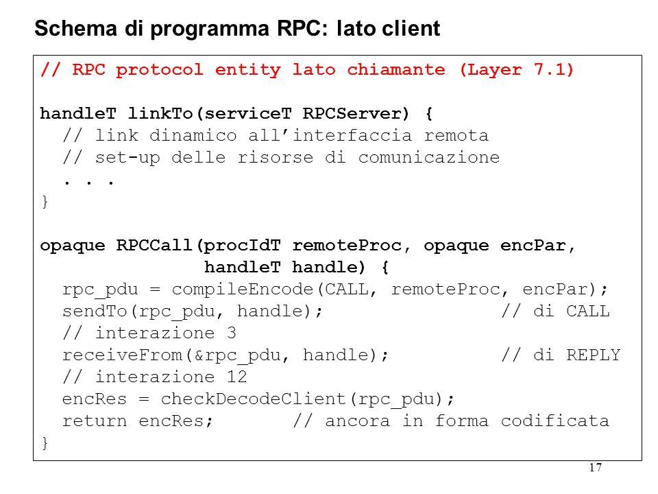 // RPC protocol entity lato chiamante (Layer 7.1) handleT linkTo(serviceT RPCServer) { // link dinamico all'interfaccia remota // set-up delle risorse