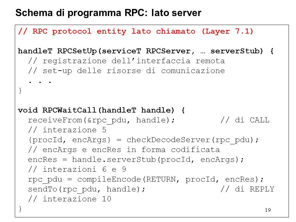 // RPC protocol entity lato chiamato (Layer 7.1) handleT RPCSetUp(serviceT RPCServer, … serverStub) { // registrazione dell'interfaccia remota // set-up delle risorse di comunicazione...