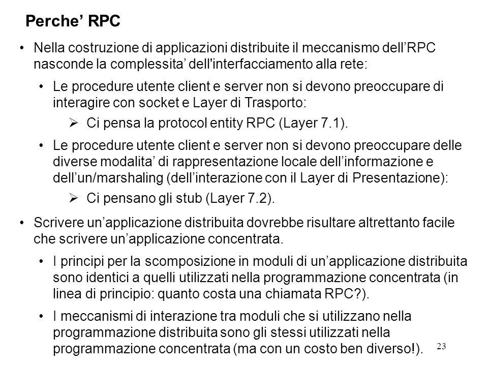 23 Nella costruzione di applicazioni distribuite il meccanismo dell'RPC nasconde la complessita' dell interfacciamento alla rete: Le procedure utente client e server non si devono preoccupare di interagire con socket e Layer di Trasporto:  Ci pensa la protocol entity RPC (Layer 7.1).