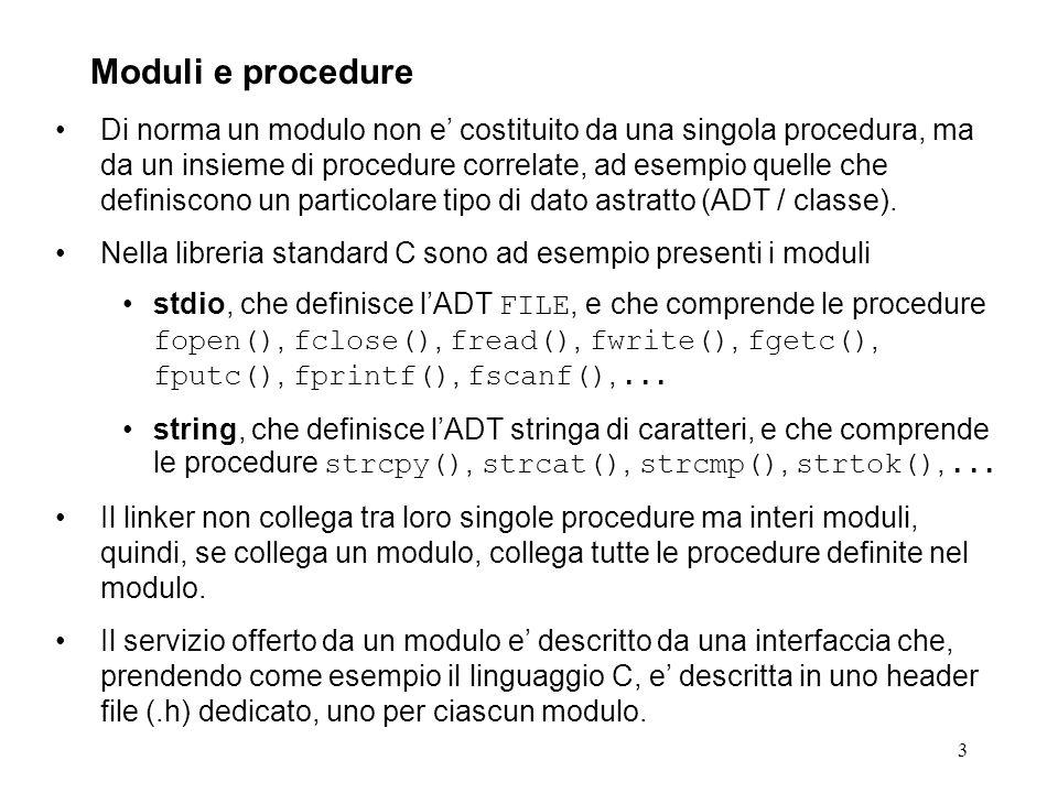 94 Header file C prodotto dalla compilazione di dir.x con rpcgen (dir.h): #ifndef _DIR_H_RPCGEN #define _DIR_H_RPCGEN #include #define MAXNAMELENGTH 255 typedef char *nametype; struct namenode { nametype name; struct namenode *next; }; typedef struct namenode namenode; typedef namenode *namelist; struct readdir_res { int errno; union { namelist list; } readdir_res_u; }; typedef struct readdir_res readdir_res; Esempio 2: remote directory.3