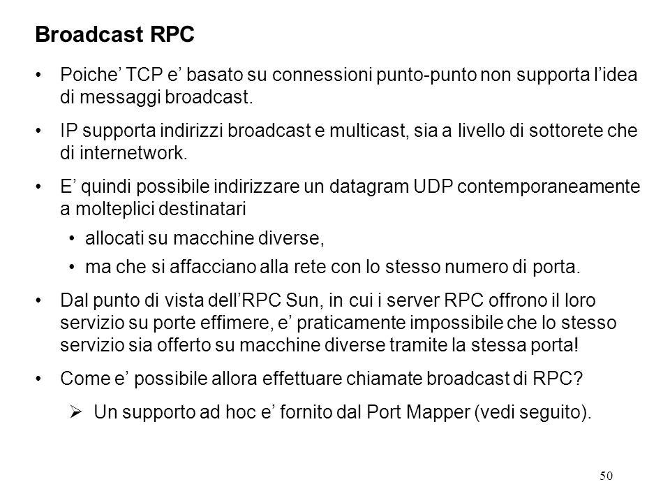50 Poiche' TCP e' basato su connessioni punto-punto non supporta l'idea di messaggi broadcast.