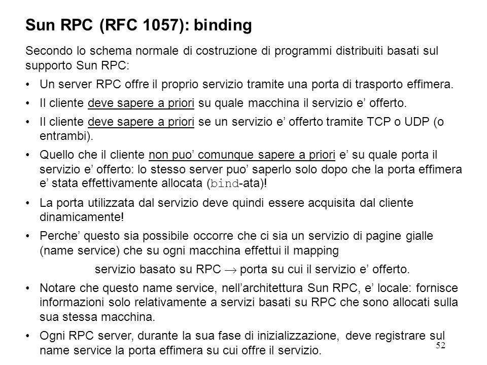 52 Secondo lo schema normale di costruzione di programmi distribuiti basati sul supporto Sun RPC: Un server RPC offre il proprio servizio tramite una porta di trasporto effimera.