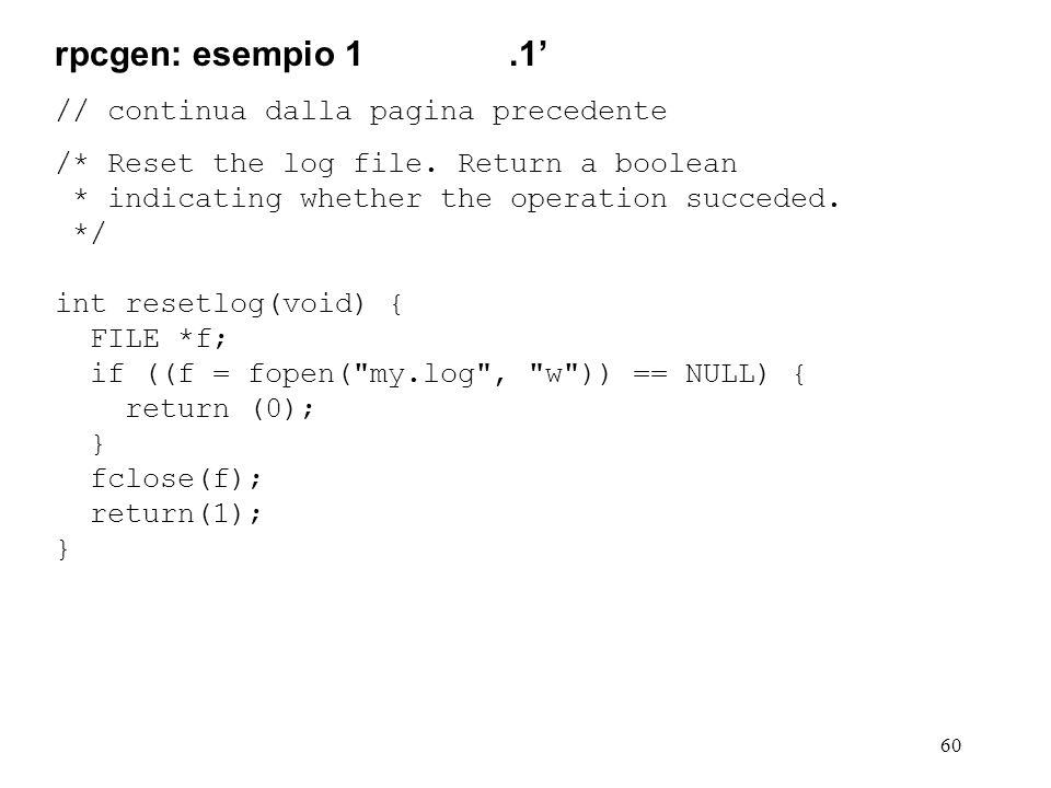 60 // continua dalla pagina precedente /* Reset the log file.