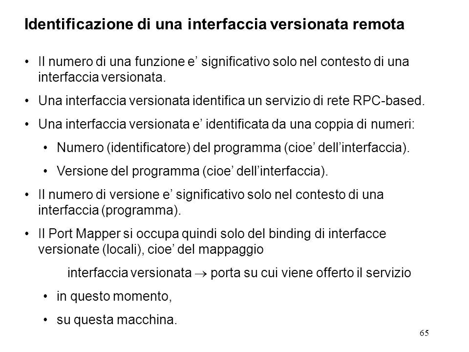 65 Il numero di una funzione e' significativo solo nel contesto di una interfaccia versionata.