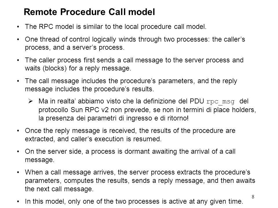 SendCallMessage( ProceduraChiamata, InputParams); ReceiveReplyMessage( OutputParams); 9 Remote Procedure Call model Procedura chiamante Procedura chiamata Return; Input parameters passing Result parameters passing Result parameters extraction ReceiveCallMessage( ProceduraChiamata, InputParams); Processo chiamato SendReplyMessage( OutputParams); Call ProceduraChiamata(); call message reply message Local Procedure Call Call ProceduraChiamata();