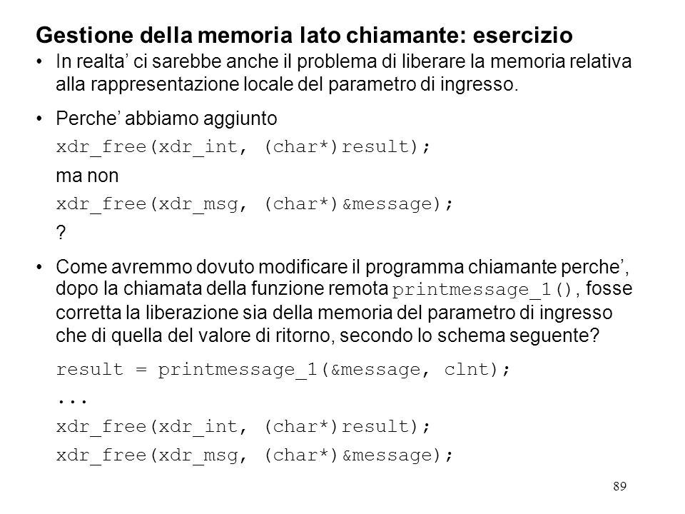 89 In realta' ci sarebbe anche il problema di liberare la memoria relativa alla rappresentazione locale del parametro di ingresso.