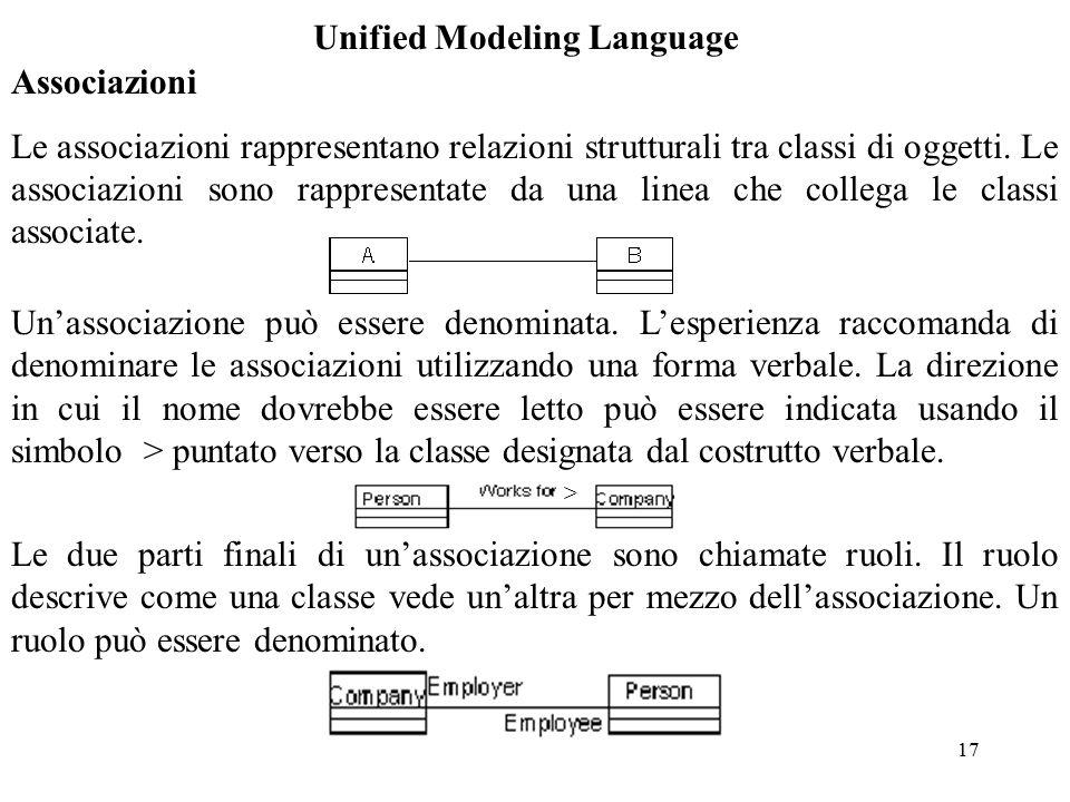 17 Unified Modeling Language Associazioni Le associazioni rappresentano relazioni strutturali tra classi di oggetti.