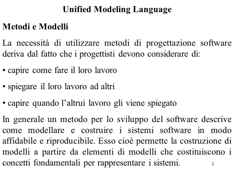 3 Unified Modeling Language I metodi di progettazione software hanno seguito due strade: Metodi Funzionali Metodi Object Oriented Negli ultimi anni il secondo approccio è stato quello più seguito ed ha portato alla definizione di un linguaggio universale per la costruzione di modelli Object Oriented detto Unified Modeling Language (UML).