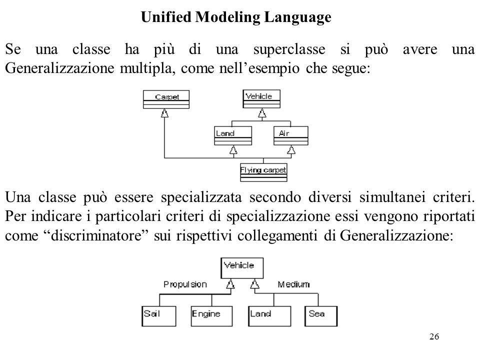 26 Unified Modeling Language Se una classe ha più di una superclasse si può avere una Generalizzazione multipla, come nell'esempio che segue: Una classe può essere specializzata secondo diversi simultanei criteri.