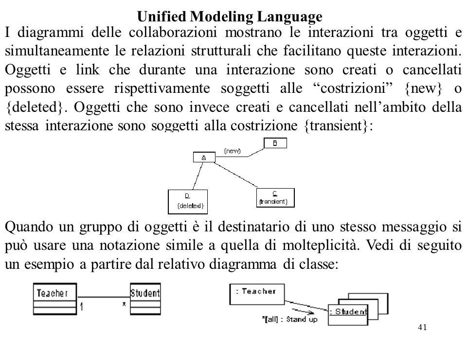 41 Unified Modeling Language I diagrammi delle collaborazioni mostrano le interazioni tra oggetti e simultaneamente le relazioni strutturali che facilitano queste interazioni.