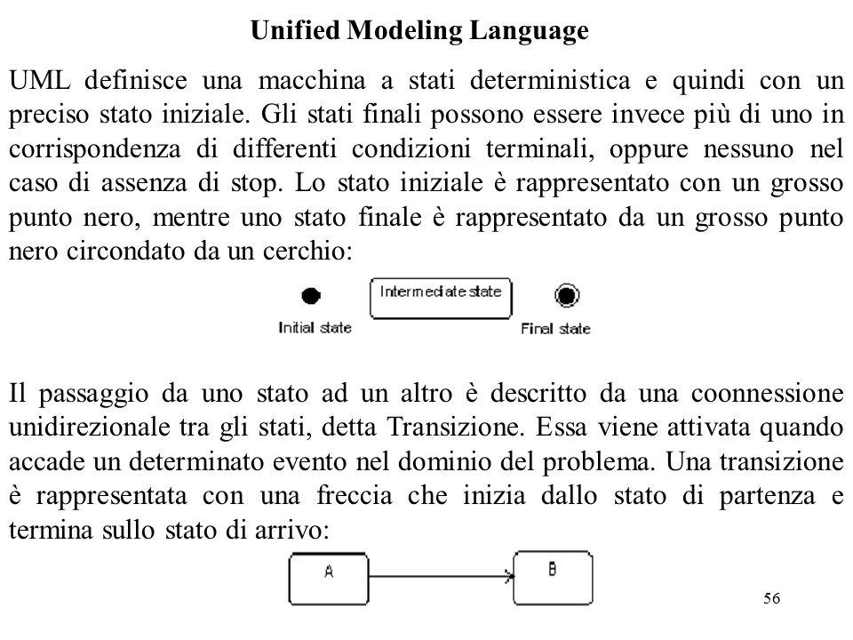 56 Unified Modeling Language UML definisce una macchina a stati deterministica e quindi con un preciso stato iniziale.