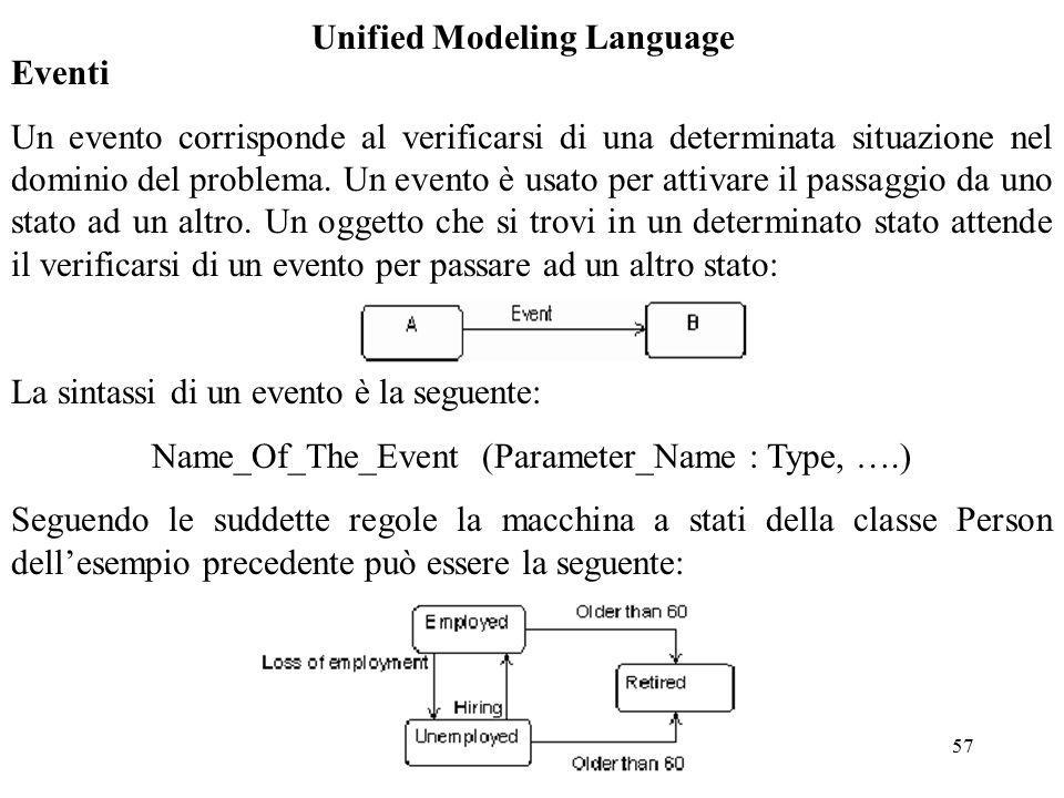 57 Unified Modeling Language Eventi Un evento corrisponde al verificarsi di una determinata situazione nel dominio del problema.