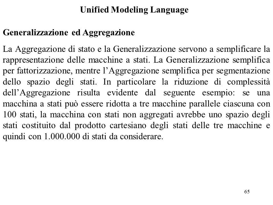 65 Unified Modeling Language Generalizzazione ed Aggregazione La Aggregazione di stato e la Generalizzazione servono a semplificare la rappresentazione delle macchine a stati.