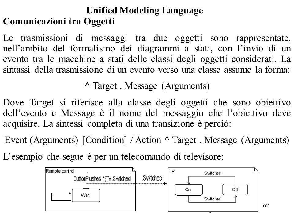 67 Unified Modeling Language Comunicazioni tra Oggetti Le trasmissioni di messaggi tra due oggetti sono rappresentate, nell'ambito del formalismo dei diagrammi a stati, con l'invio di un evento tra le macchine a stati delle classi degli oggetti considerati.