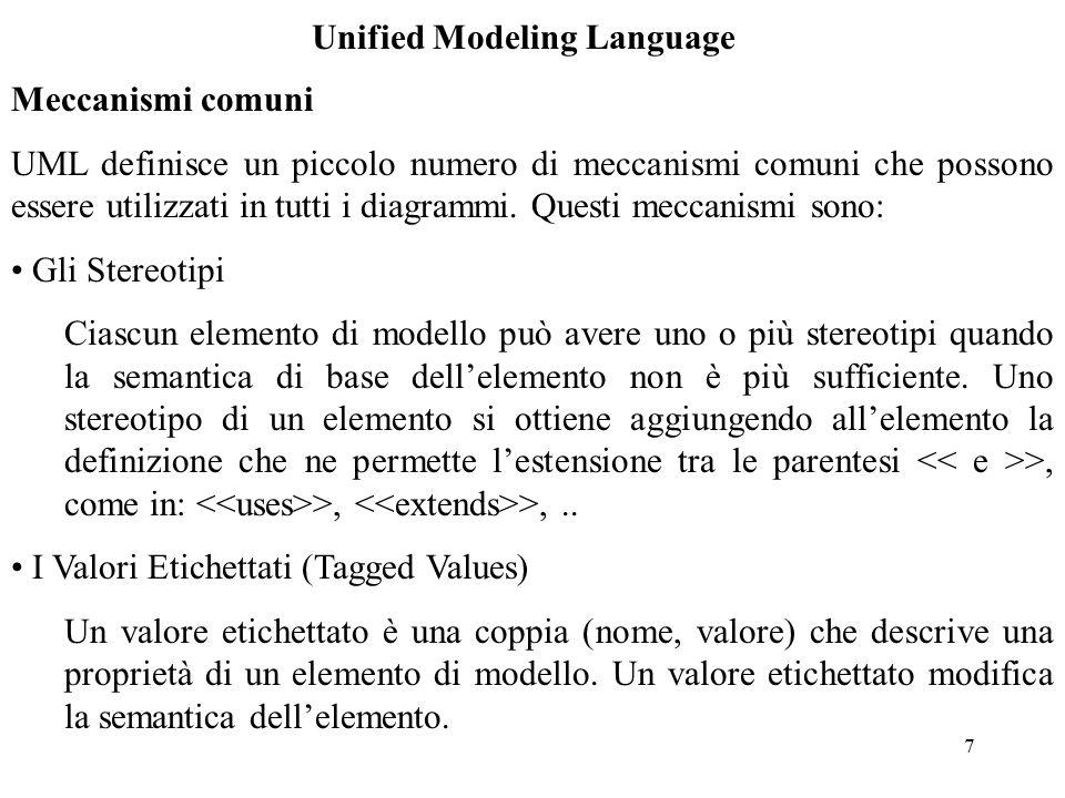 28 Unified Modeling Language {disjoint}indica che una classe discendente dalla classe A può essere solo discendente da una delle sottoclassi di A {overlapping}indica che una classe discendente dalla classe A appartiene al prodotto Cartesiano delle sottoclassi di A {complete}indica che la generalizzazione è terminata e non possono essere aggiunte altre sottoclassi {incomplete}specifica una generalizzazione estensibile Nell'esempio che segue viene mostrato come la classe Moped (Ciclomotore) è prodotto cartesiano delle sottoclassi Engine e Land della classe Vehicle: