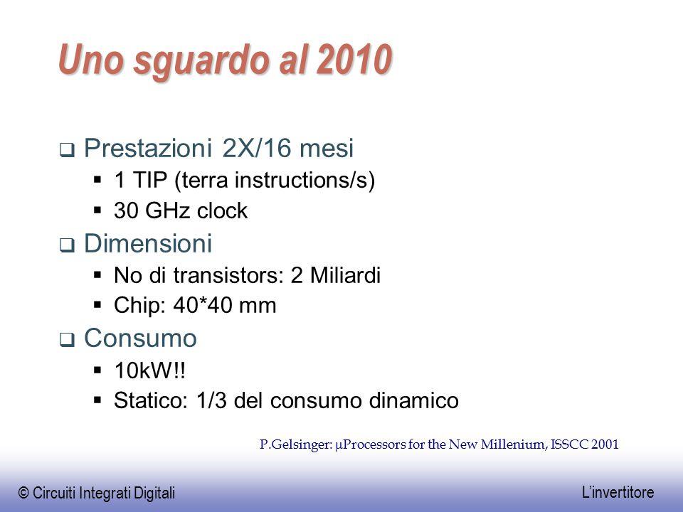 © Circuiti Integrati Digitali L'invertitore Uno sguardo al 2010  Prestazioni 2X/16 mesi  1 TIP (terra instructions/s)  30 GHz clock  Dimensioni 