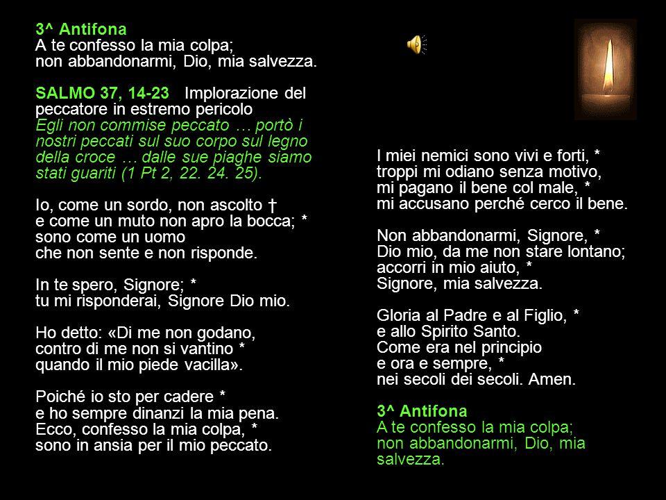 3^ Antifona A te confesso la mia colpa; non abbandonarmi, Dio, mia salvezza.