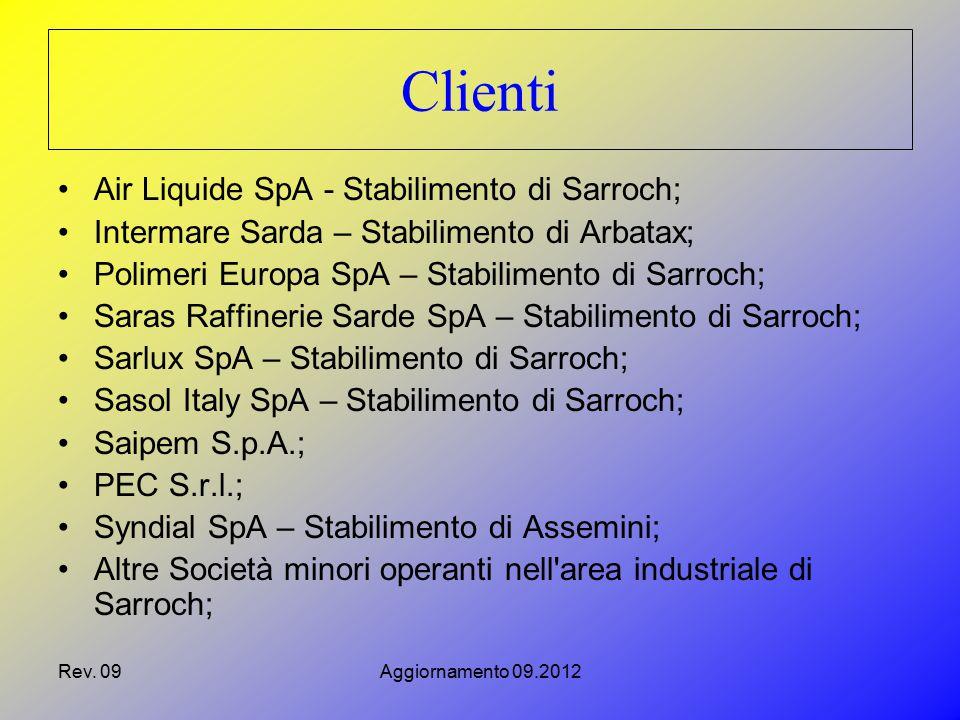Rev. 09Aggiornamento 09.2012 Air Liquide SpA - Stabilimento di Sarroch; Intermare Sarda – Stabilimento di Arbatax; Polimeri Europa SpA – Stabilimento