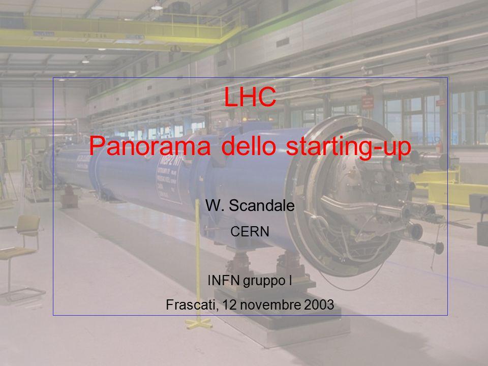LHC Panorama dello starting-up W. Scandale CERN INFN gruppo I Frascati, 12 novembre 2003