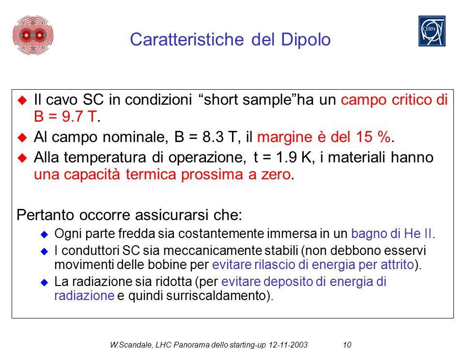 """W.Scandale, LHC Panorama dello starting-up 12-11-200310  Il cavo SC in condizioni """"short sample""""ha un campo critico di B = 9.7 T.  Al campo nominale"""