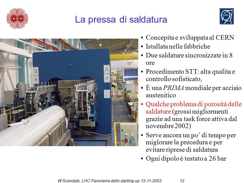 W.Scandale, LHC Panorama dello starting-up 12-11-200312 La pressa di saldatura Concepita e sviluppata al CERN Istallata nelle fabbriche Due saldature sincronizzate in 8 ore Procedimento STT: alta qualita e controllo sofisticato, È una PRIMA mondiale per acciaio austenitico Qualche problema di porosità delle saldature (grossi migliormenti grazie ad una task force attiva dal novembre 2002) Serve ancora un po' di tempo per miglorare la precedura e per evitare riprese di saldatura Ogni dipolo è testato a 26 bar